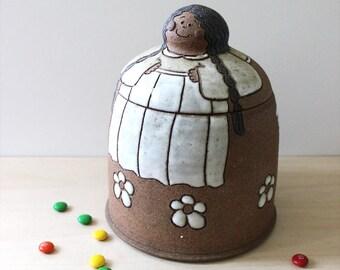 Cookie Girl. Rustic 1970s studio pottery stoneware cookie jar.