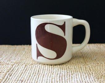 Monogram mug, vintage 1970s letter S.