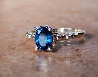 Genuine Blue Sapphire Sterling Silver Filigree Scroll Ring, Cavalier Creations