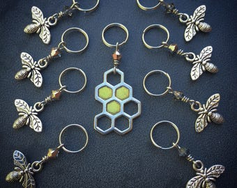 Buzzin' Around: Super Set of 9 Bee and Honeycomb Stitch Markers for Knitters and Crocheters