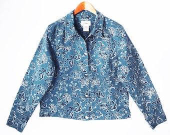 vintage SKY BLUE bandana print jacket // brushed denim jeans jacket // L L Bean // cotton cropped jacket // women's M