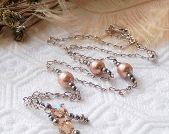 Sale.......One of a Kind Sterling Silver and Swarovski Pearl/Crystal Y Necklace