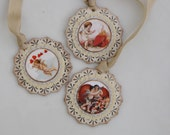 Set of THREE  Vintage inspired Victorian VALENTINE Gift Tags Ornaments Cream Red Cherubs Cupid