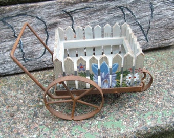 Vintage Floral Picket Fence Wheelbarrow Cart