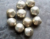 Nugget Beads, Silver Beads, Lucite Beads, Metalized, Silver Plated, Vintage Beads, Boho Bead, Boho Chic, Tribal Beads, 12mm, 10 Beads