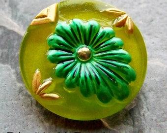 Pantone 2017, Green Flower Button, Flower Button, Czech Glass, Boho Beads, Boho Chic, Vintage Button, Hand Painted, Glass Button-1 Button