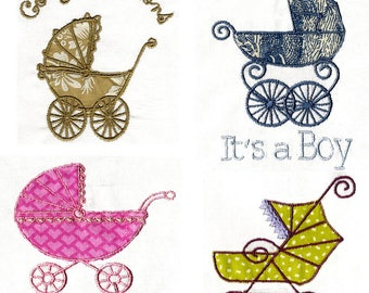 APPLIQUE BABY BUGGIES   Machine embroidery Designs