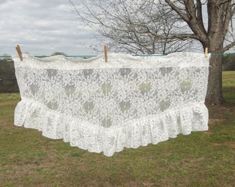 Ruffled Lace Valance Ivory Ruffled Curtain 40 x 21 Window Treatment Ivory Lace Swag French Country Farmhouse Prairie Cottage Chic