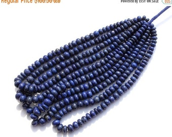 "55% OFF SALE Full 16"" Natural Lapis Lazuli Smooth Rondelle Beads Size 7 - 10mm Approx Natural Gemstone Beads"