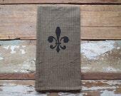 Fleur de Lis Vintage Style Black and Natural Gingham Mini Check Towel