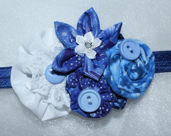Newborn to 3 month,,fabric flower, stretch headband, baby, infant, photo prop,Blue