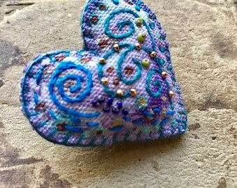Aqua Heart Brooch with Beads and Embroidery on Hand Painted Fabric