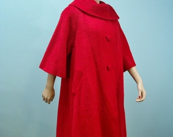 LILLI ANN Swing Coat . Vintage 50s 60s Lipstick Red Mohair Coat Lilli Ann . Cowl Collar L XL