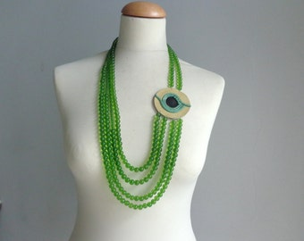 Green statement necklace long necklace leather necklace big circle necklace