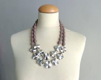 Black brown bronze cream statement necklace double strand