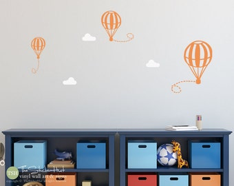 3 Hot Air Balloons U0026 3 Clouds Boy Or Girl Decals   Nursery Bedroom   Word Part 76