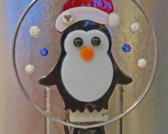 Penguin Night Light - Festive Christmas Night Light - Fused Glass Penguin Nightlight