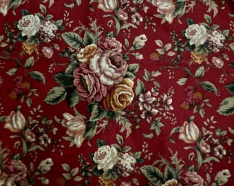 Vintage Raymond Waites Emmaline Upholstery Fabric in Dark Red Floral - Mill Creek Fabrics