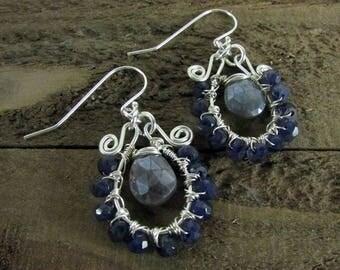 Iolite & Labradorite Wire Wrapped Earring, Sterling Silver Earring, Gemstone Earring