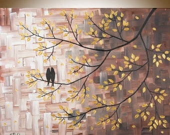 """Love Birds art gold brown canvas art acrylic Painting Impasto home decor wall decor""""The Golden Moments"""" by qiqigallery"""