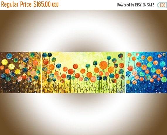 "48"" Nursery art nursery wall decor colorful abstract Acrylic Landscape Painting narrow art Canvas art ""Wild Poppy Field"" by QIQIGALLERY"