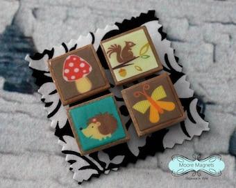 Magnet Set of 4 - Woodland Animals Hedgehog Squirrel Mushroom Butterfly