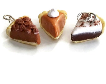 3 Pie Pendants, Pecan, Pumpkin and Chocolate Cream, Polymer Clay Jewelry,  Miniature Food  for Best Friends, Holidays