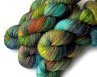 Hand Dyed Yarn Boston Bouncy Superfine Merino Silk Sport Yarn Amazonia