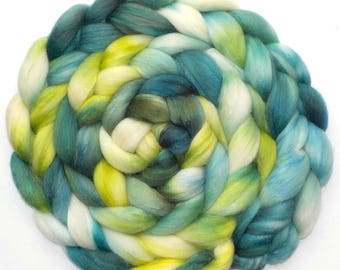 Roving Hand Dyed Polwarth Mohair Silk Combed Top - Riverside, 5.0 oz.