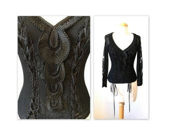Exquisite 90s Christian Dior Knit Top S Corset Ties Lace Ribbon Work
