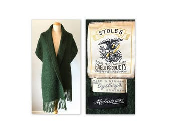 Vintage 60s Mohair Shawl Scarf Seaweed Green Stole Self Fringed