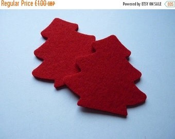 HALF PRICE SALE Sale 2 x red felt Christmas tree shapes