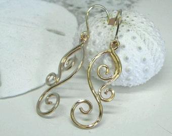 Gold Dangle Earrings - Gold Swirl Earrings - 14kt Gold Wave Jewelry - Scroll Earrings - Gold Scroll Filigree - Ocean Inspired Wave