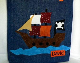Pirate Ship Tote Bag|Trick or Treat Bag|Pirate Birthday Party Gift Bag|Personalized Boy Tote Bag|Preschool Book Bag|Kids Book Bag|Halloween