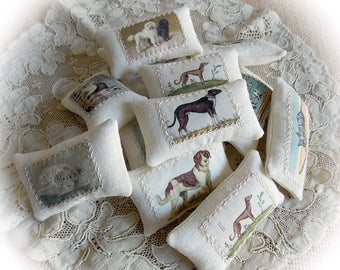 Spring Sale...Miniature Cushions...1.12 Scale Cushions...1 Inch Scale Pillows...Linen Picture Pillows...Vintage Dogs...Oblong Cushions