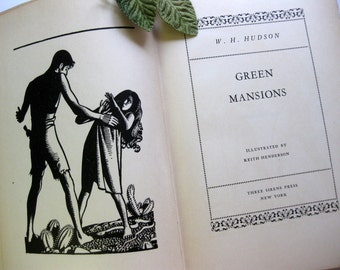 Gorgeous, Illustrated Green Mansion Fiction Book, Packed with Black and White Illustrations