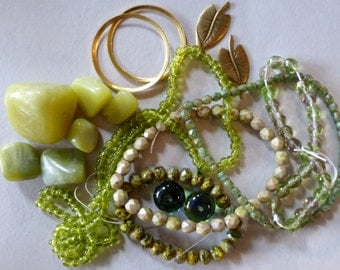 Mix of Assorted Vintage and New Beads to Play With - Green Tones OOAK  (GG)