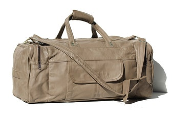 Vintage light Gray Leather Travel Bag