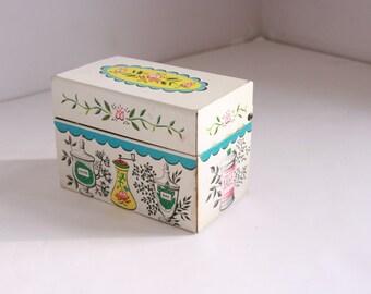 Vintage J. Chein metal recipe box forties era kitchen