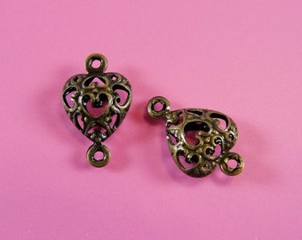 Antique Bronze over Brass filigree ornate heart drop puffed  two loop link connectors, 14x9mm, 20 pcs CN1016