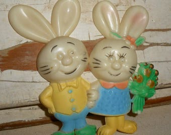 Vintage Mr and Mrs Easter Bunnies, Vintage Easter Decor, Plastic Easter Bunny, Vintage Easter Bunny