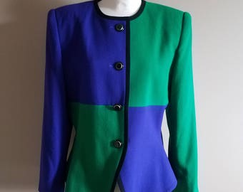 Bright Blue and Green Color Block Harlequin Blazer