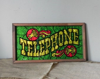 Vintage retro Telephone sign // stained glass wall art // green wall art // retro artwork // retro plaque // diner si