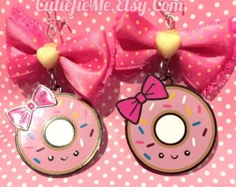 Pink Donut Dangle Bow Earrings