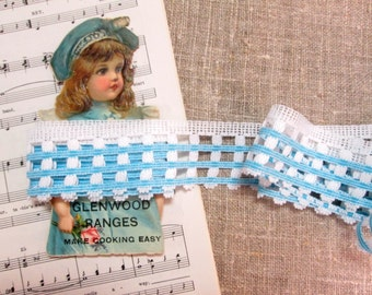 "Vintage Lace Aqua Blue White Trim Sewing Notions Five 5 Yards  1-1/2"" Wide NOS New Old Stock Unused"