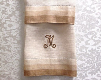 Antique Hand Towel M Monogram Guest Towel Vintage Linens Monogrammed Personalized Embroidered Bath Towel Brown Mens Gifts Him Bathroom Decor