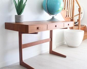 Danish Modern Teak Cantilevered Desk by Georg Petersens Mobelfabrik Farum Made in Denmark