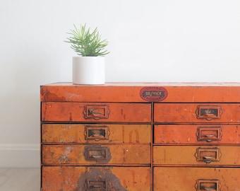 Orange Industrial Hardware Drawers