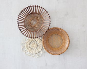 Collection of Boho Vintage Straw Weavings Baskets Wall Hangings