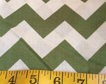 2/3 Yard of Green Chevron Fabric